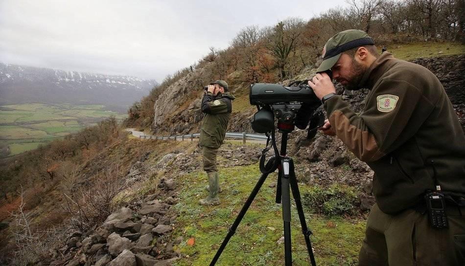 dos guardas forestales vigilando el terreno