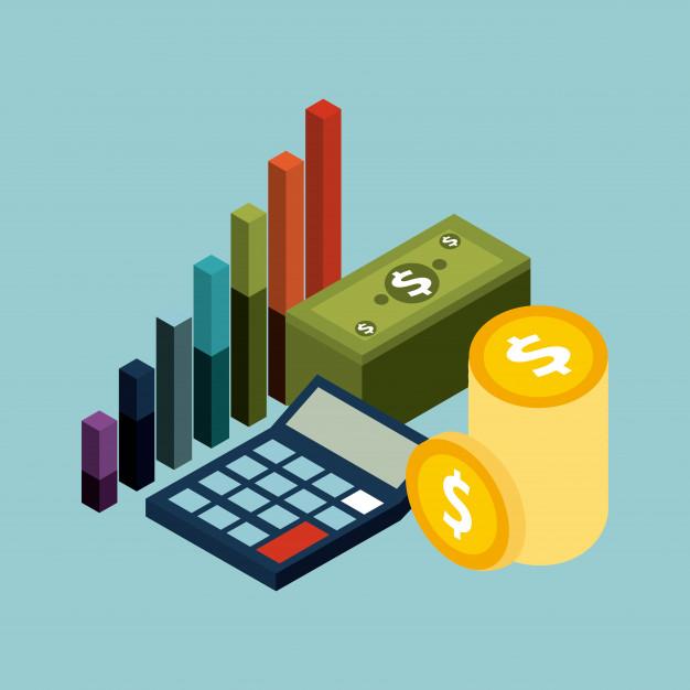 dibujo de calculadora, dinero y graficos de barras