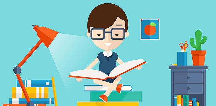 chico estudiando de forma ordenada