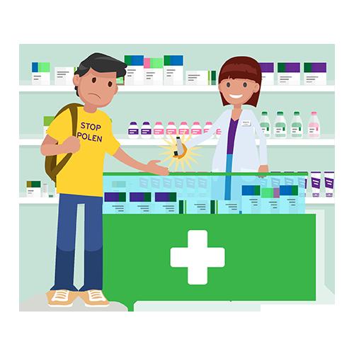 auxiliar de farmacia atendiendo a un cliente