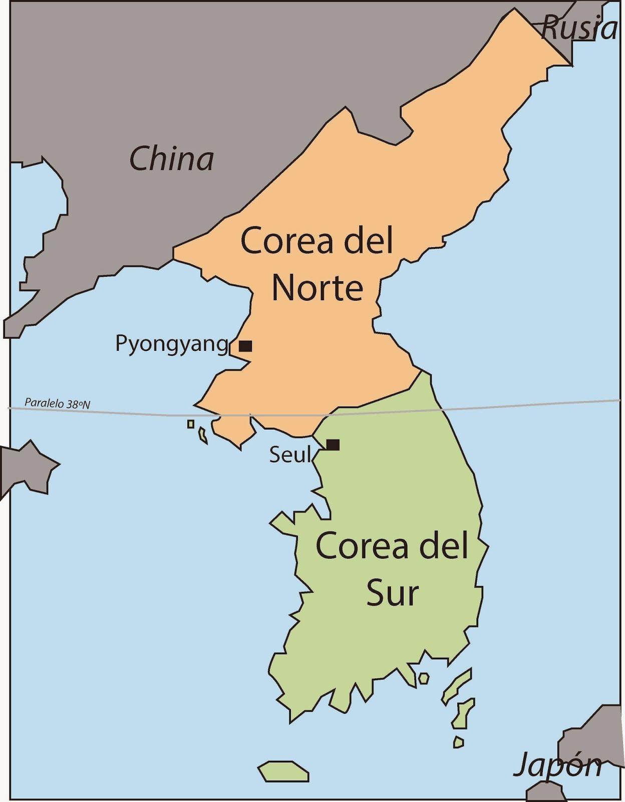 mapa de las dos coreas